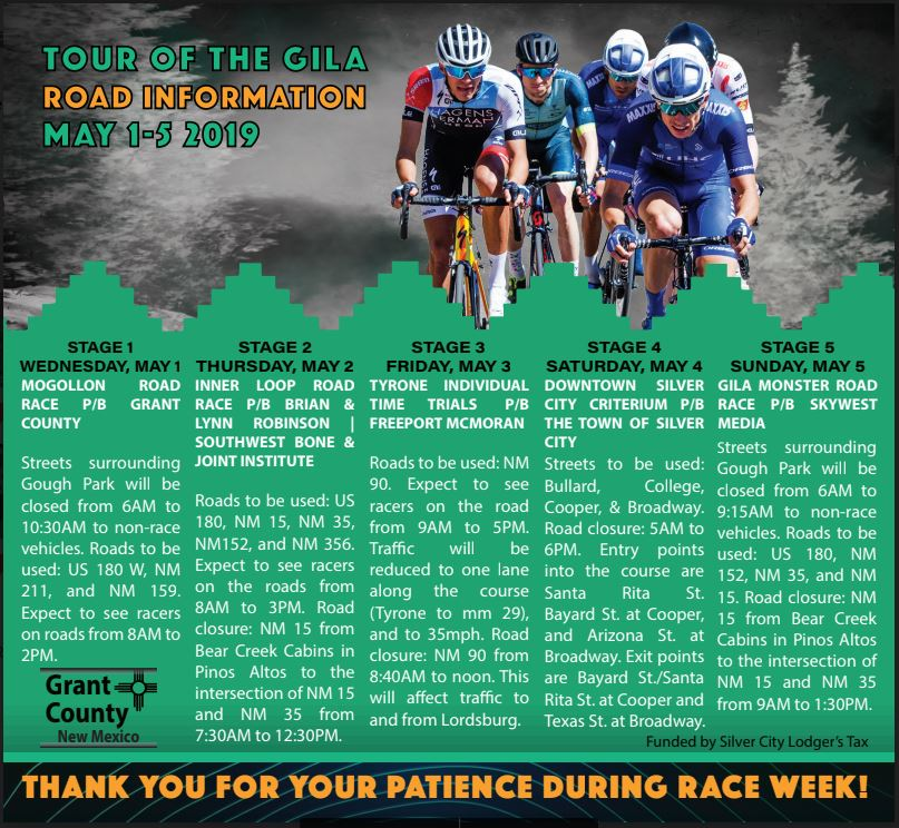 Tour of the Gila Road Information May 1-5, 2019