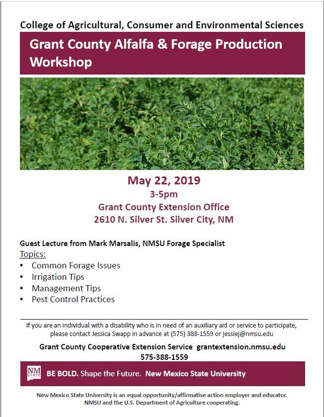 Grant County Alfalfa & Forage Production Workshop