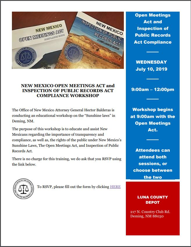 NM Open Meetings Act Workshop in Deming