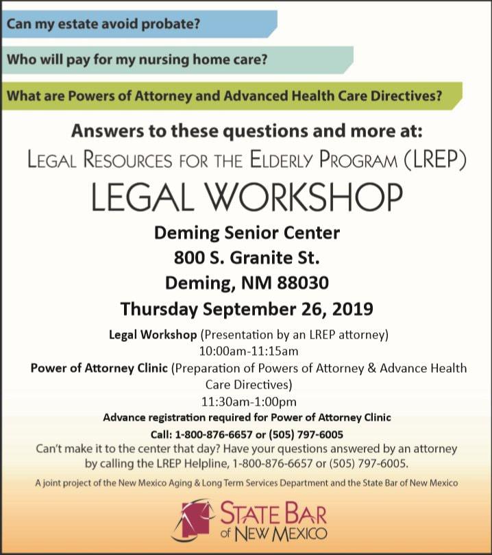 Legal Resources for the Elderly Legal Workshop