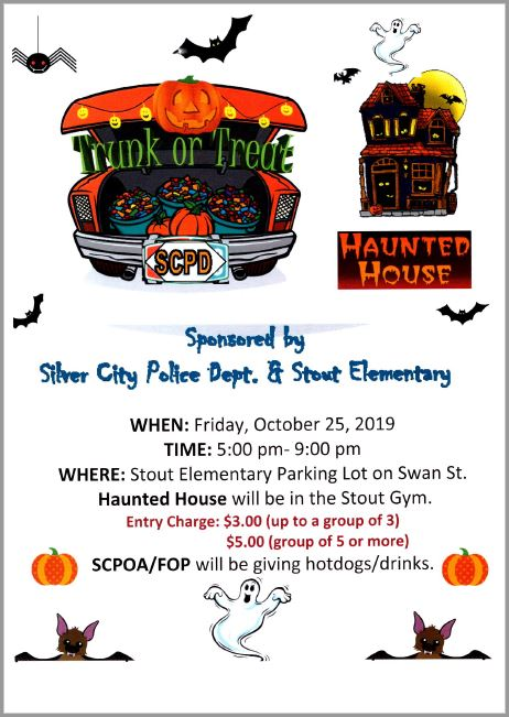 Silver City Police Dept. & G.W. Stout Elementary Halloween Trunk or Treat