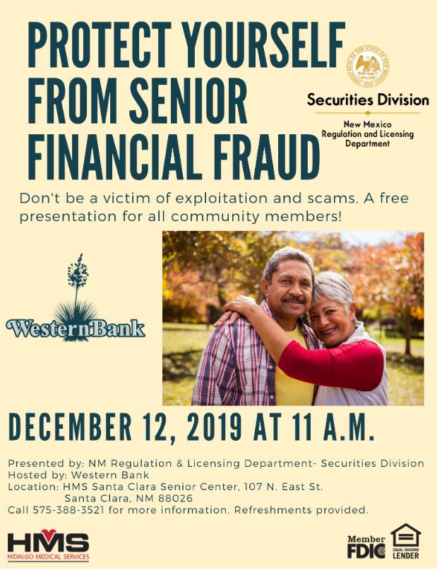 Senior Financial Fraud Presentation at HMS Santa Clara Senior Center