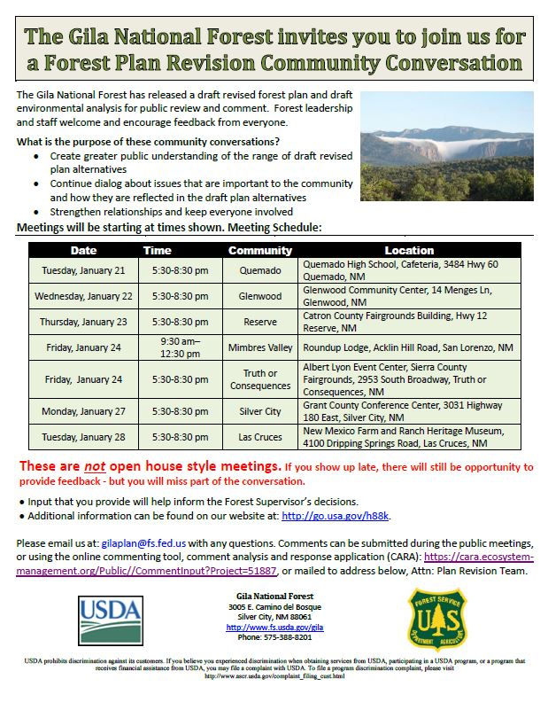 Gila National Forest Plan Revision Community Conversation