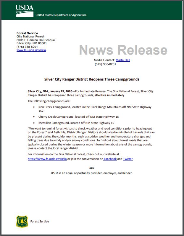 Silver City Ranger District Opens Campgrounds