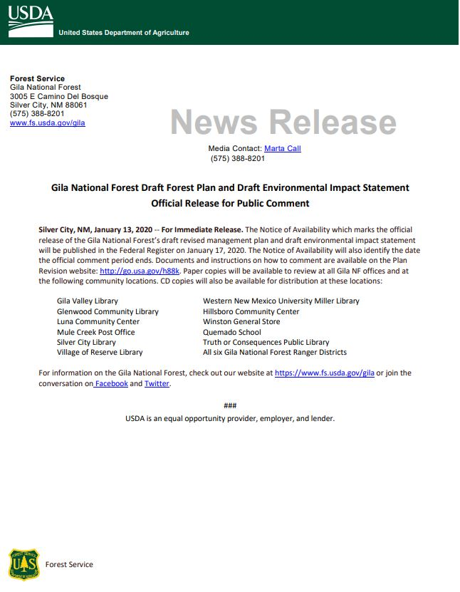 Gila National Forest Draft Forest Plan