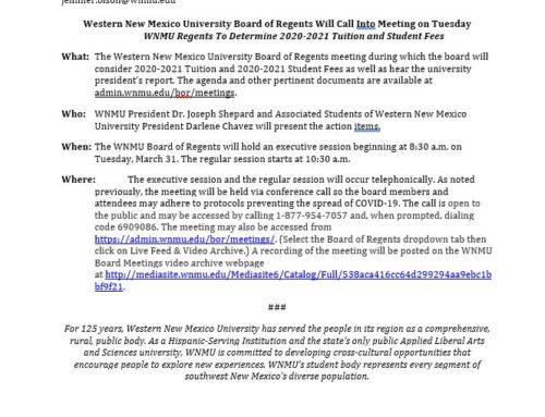 WNMU Board of Regents Meeting