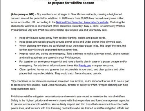 PNM Wild Fire Season Tips