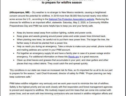 PNM Wild Fire Season Tips