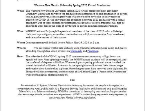 WNMU Virtual Graduation Ceremony