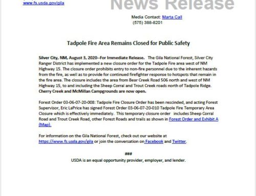 Tadpole Fire Temporary Health & Safety Closure