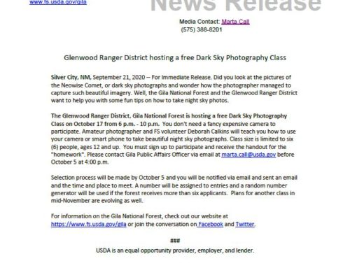 Glenwood Ranger District Hosts Free Dark Sky Photo Class