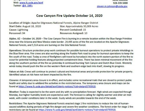 Cow Canyon Fire Update