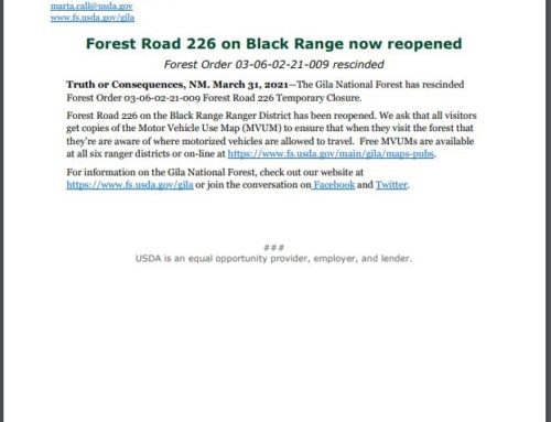 Forest Road 226 Reopened