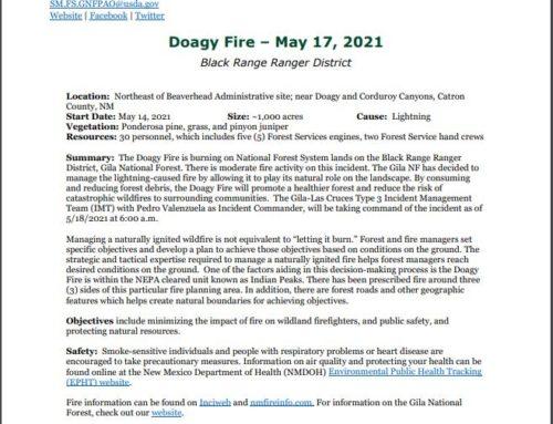 Doagy Fire Update