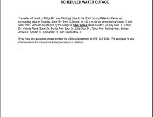 Town of Silver City Scheduled Water Outage