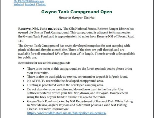 Gwynn Tank Campground Opened on Reserve Ranger District