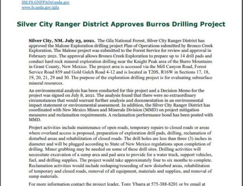 Silver City Ranger District Approves Burros Drilling Project