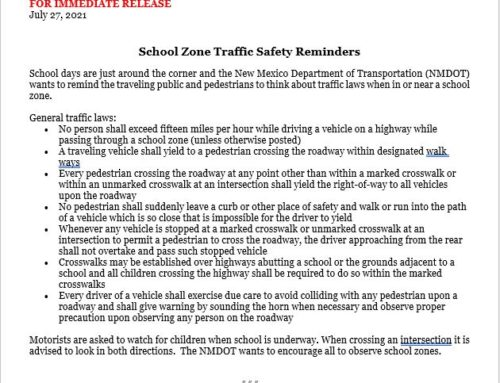 NMDOT School Zone Safety Reminders