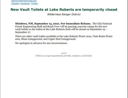 Forest Service News Release – Lake Roberts